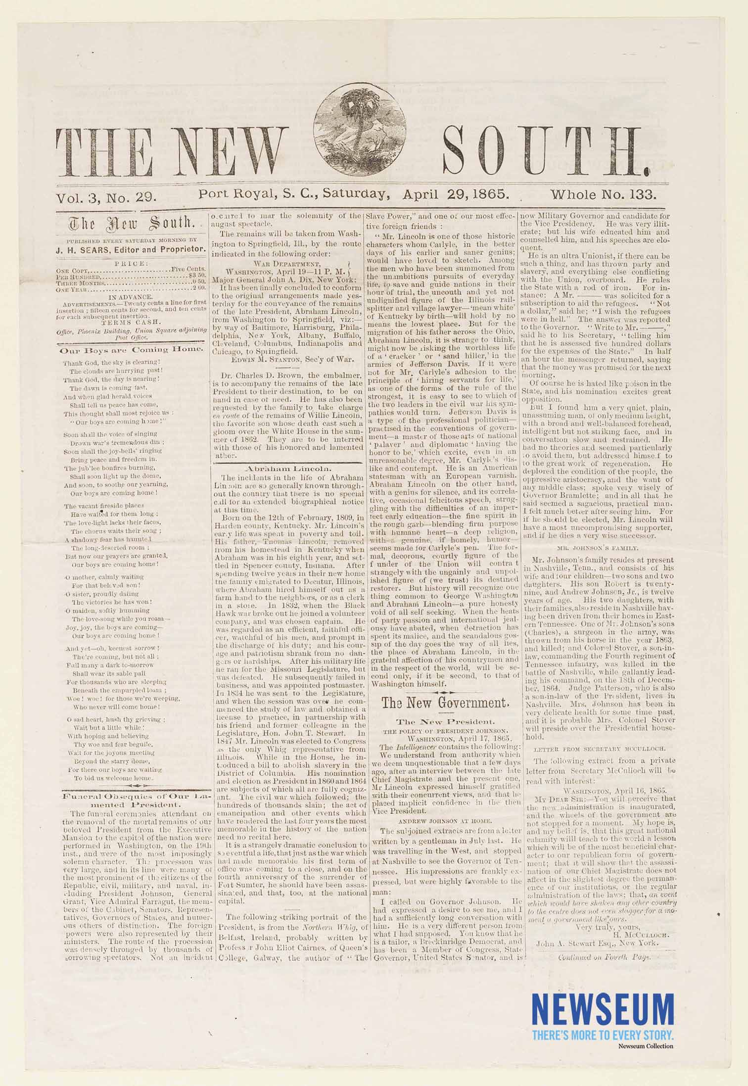 The New South, April 29, 1865