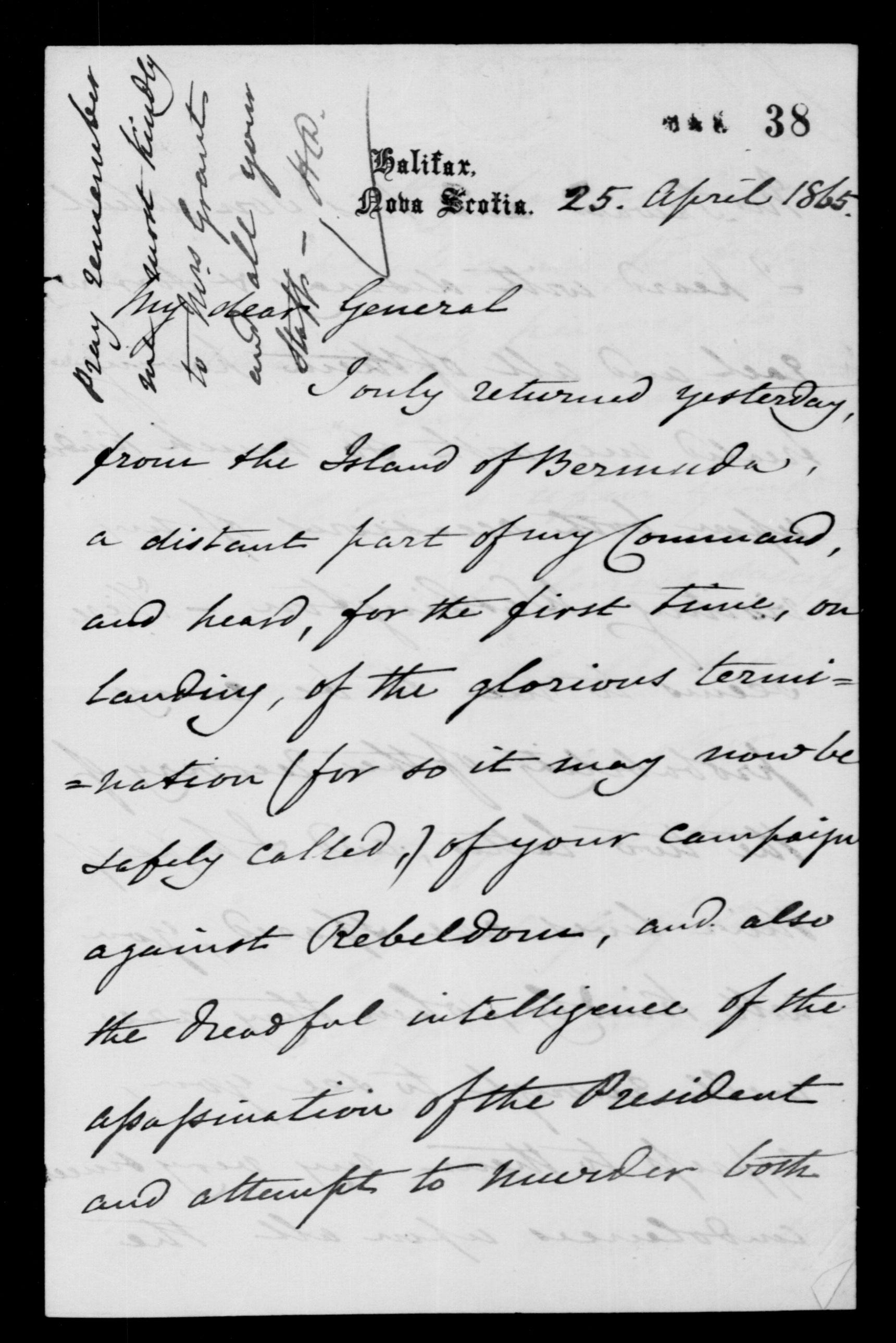 Sir Charles Hastings Doyle to Ulysses S. Grant
