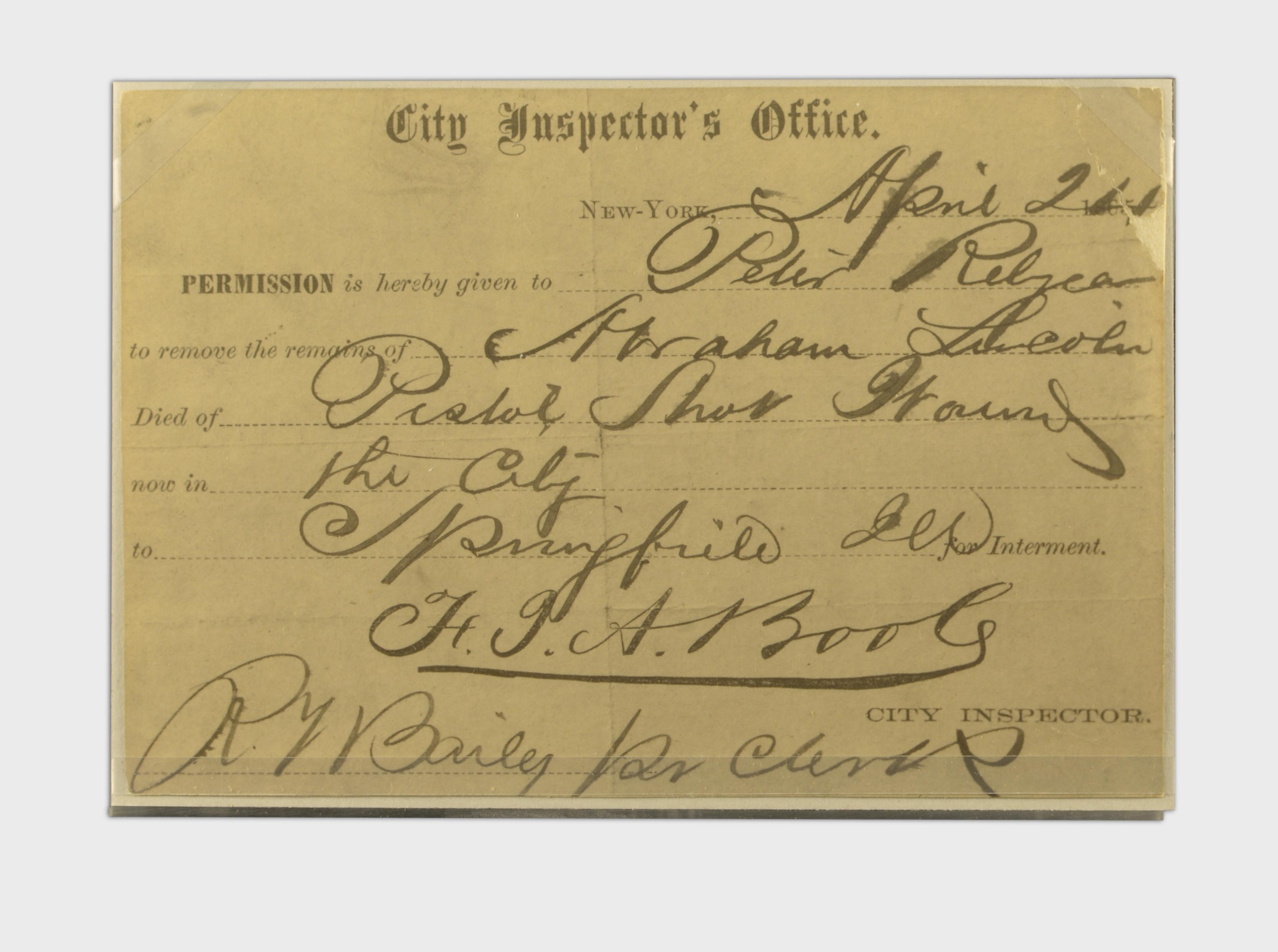 City Inspector's Office Certificate