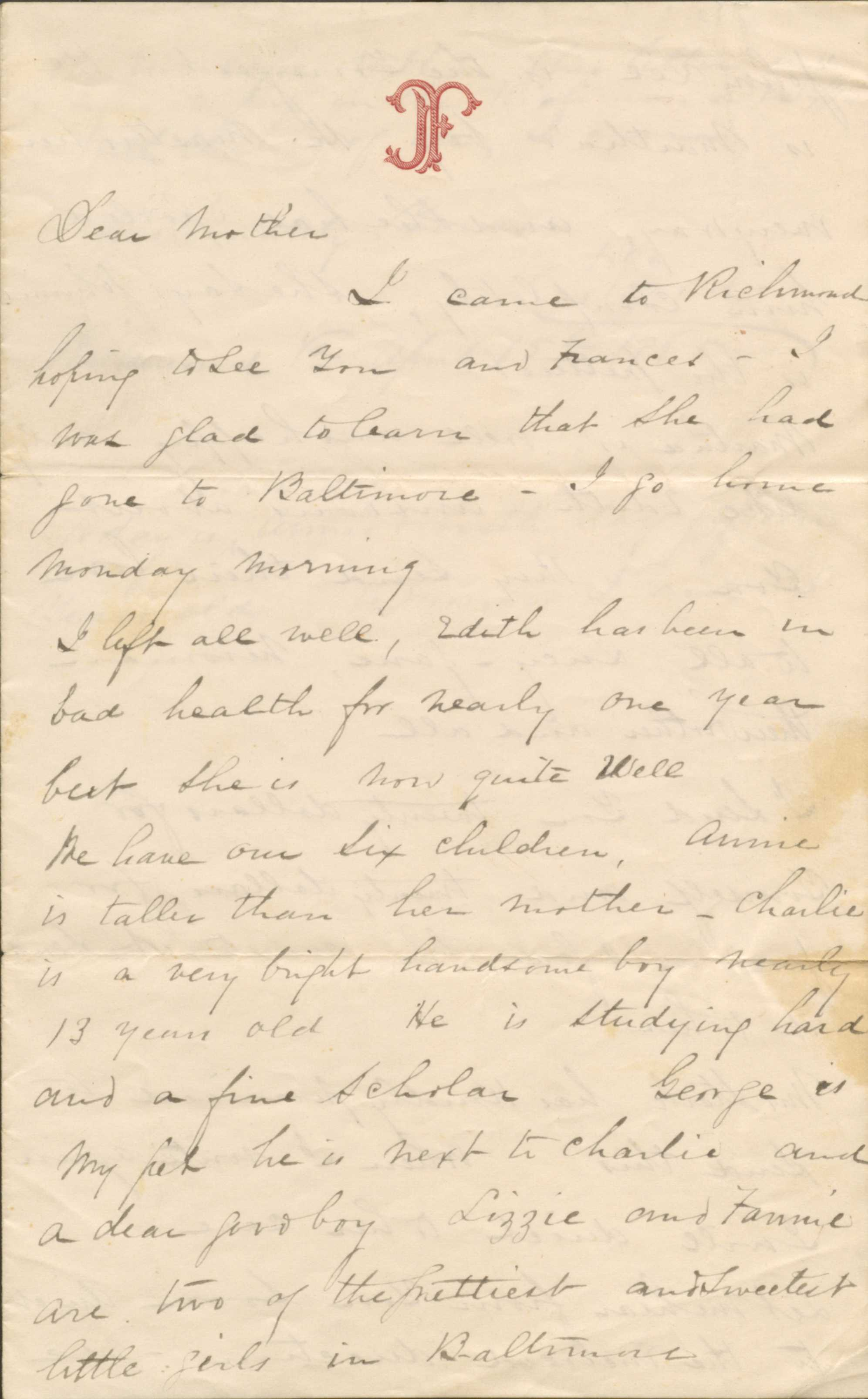 Letter from John T. Ford to his Mother