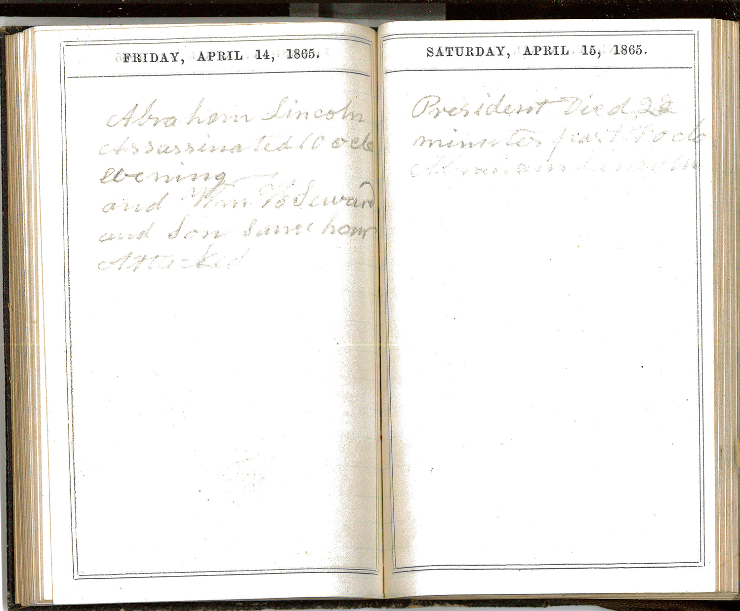 Journal – Friday April 14, 1865, Saturday April 16