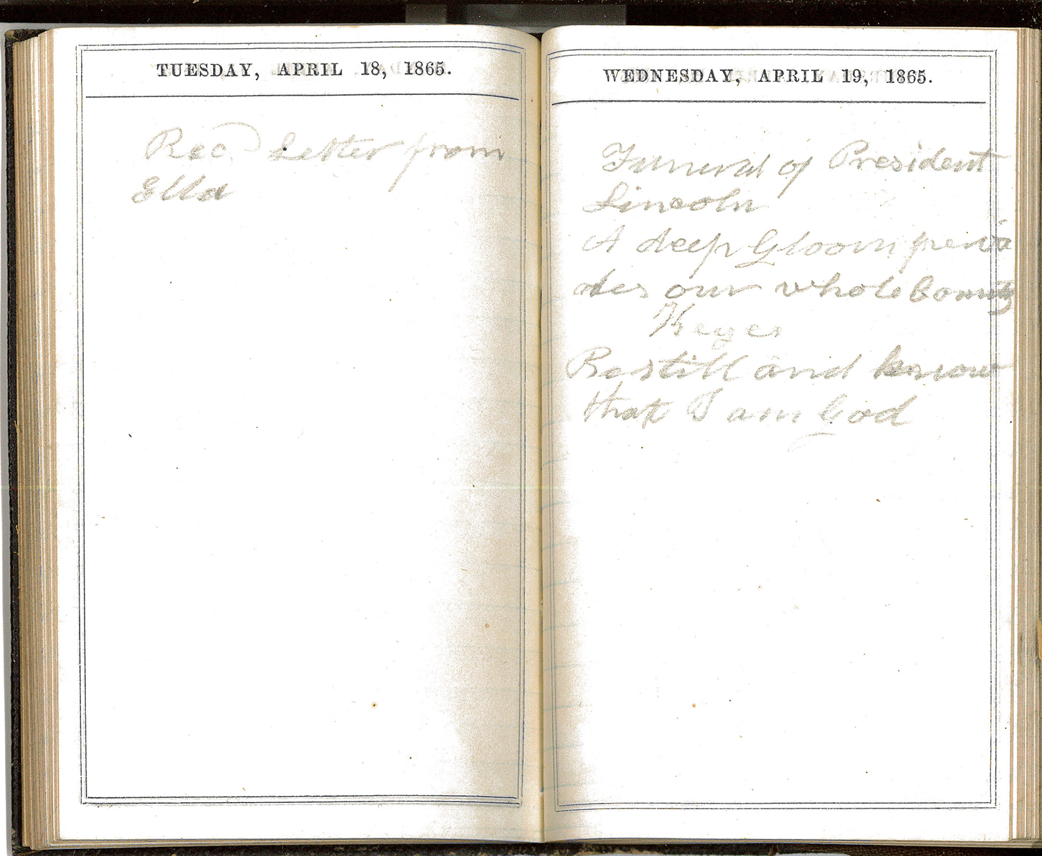 Journal – Tuesday April 18 1865, Wednesday April 19