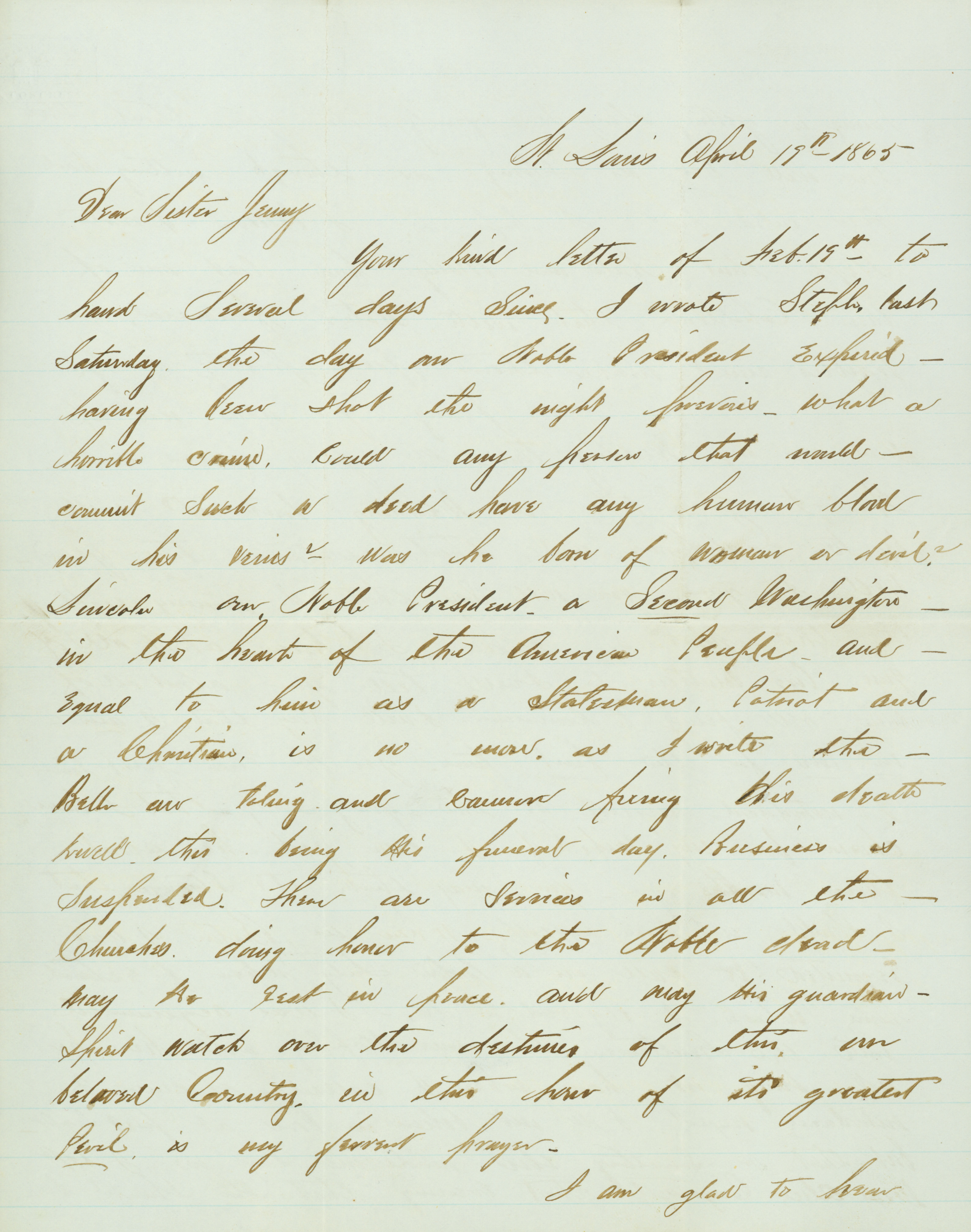 Letter of Jud M. Bemis, St. Louis, to his sister Jenny, April 19, 1865