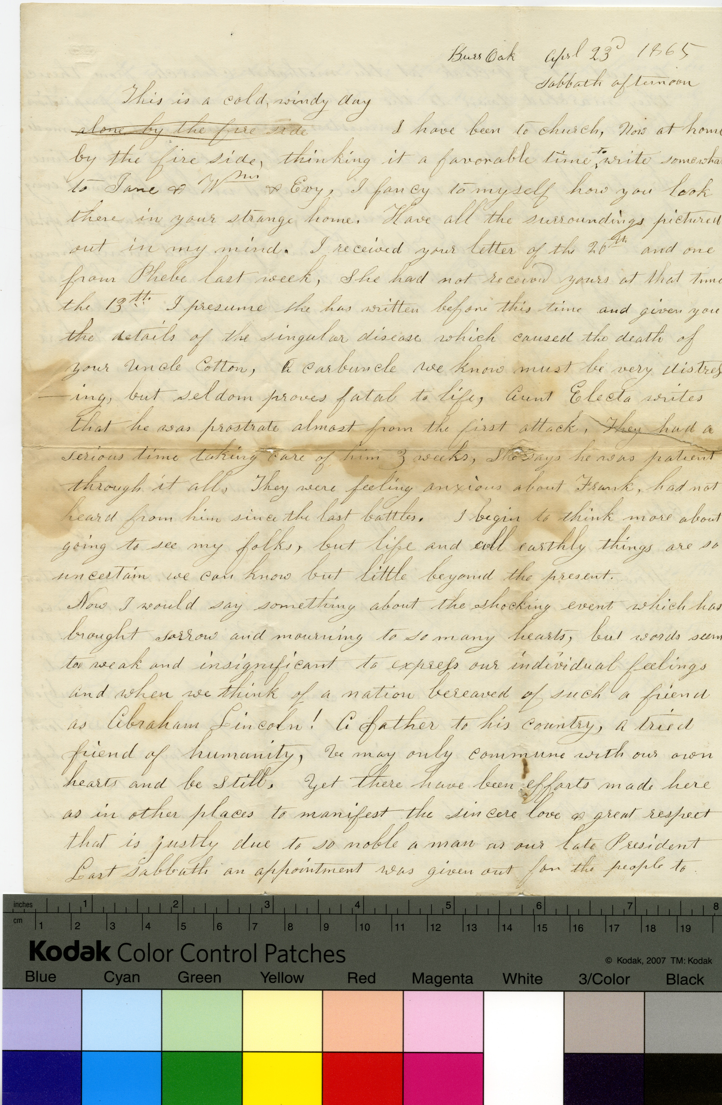 Handwritten letter to Jane Betts from Harriet Farley, April 23, 1865