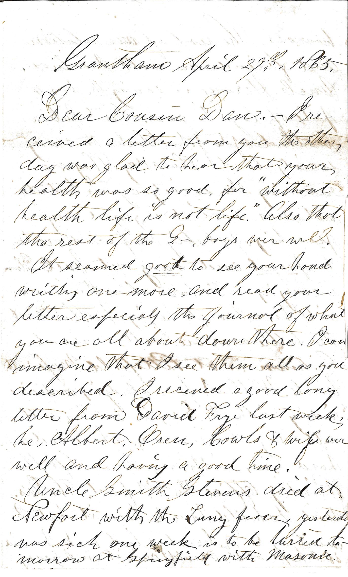 Letter – Grantham April 29th pt 1
