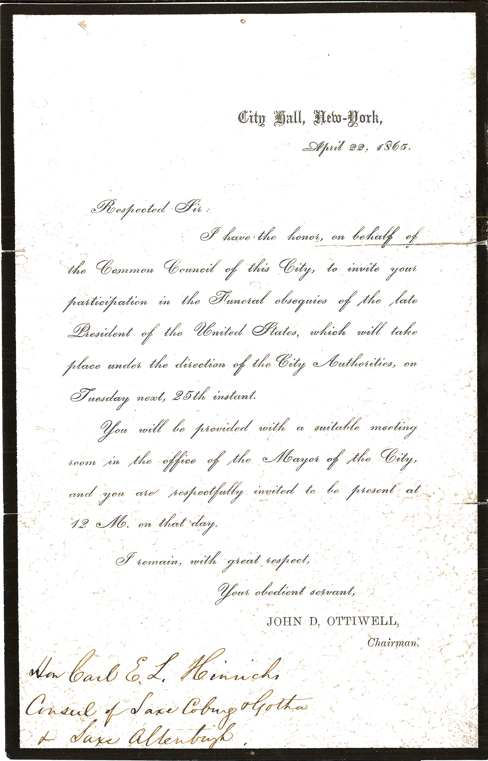 Letter Invitation to Lincoln Funeral New York – Invitation to a Funeral
