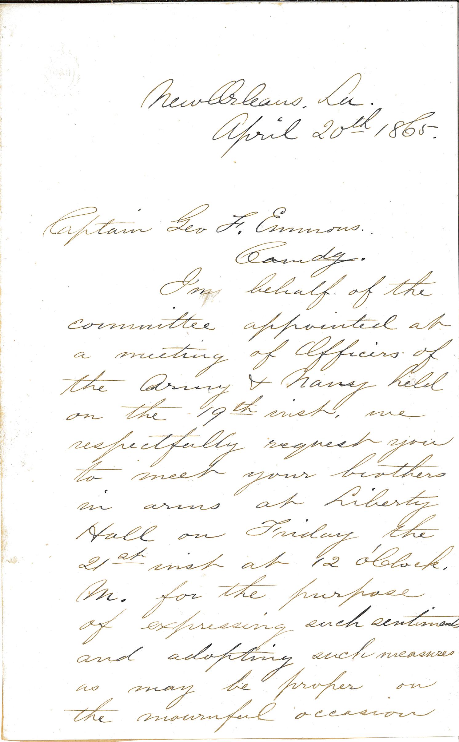 Letter- New Orleans April 20 1865