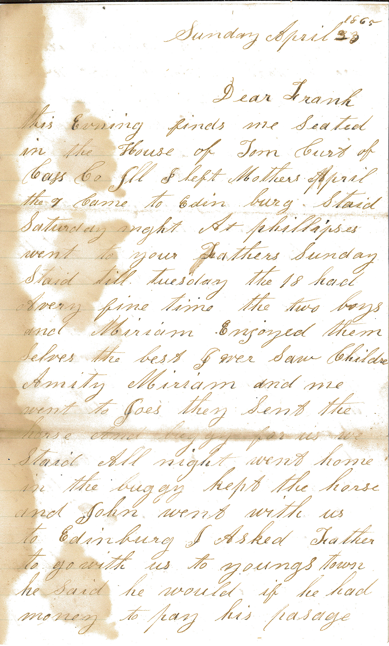 Letter – To Frank Sunday April 23 1865 pt 1