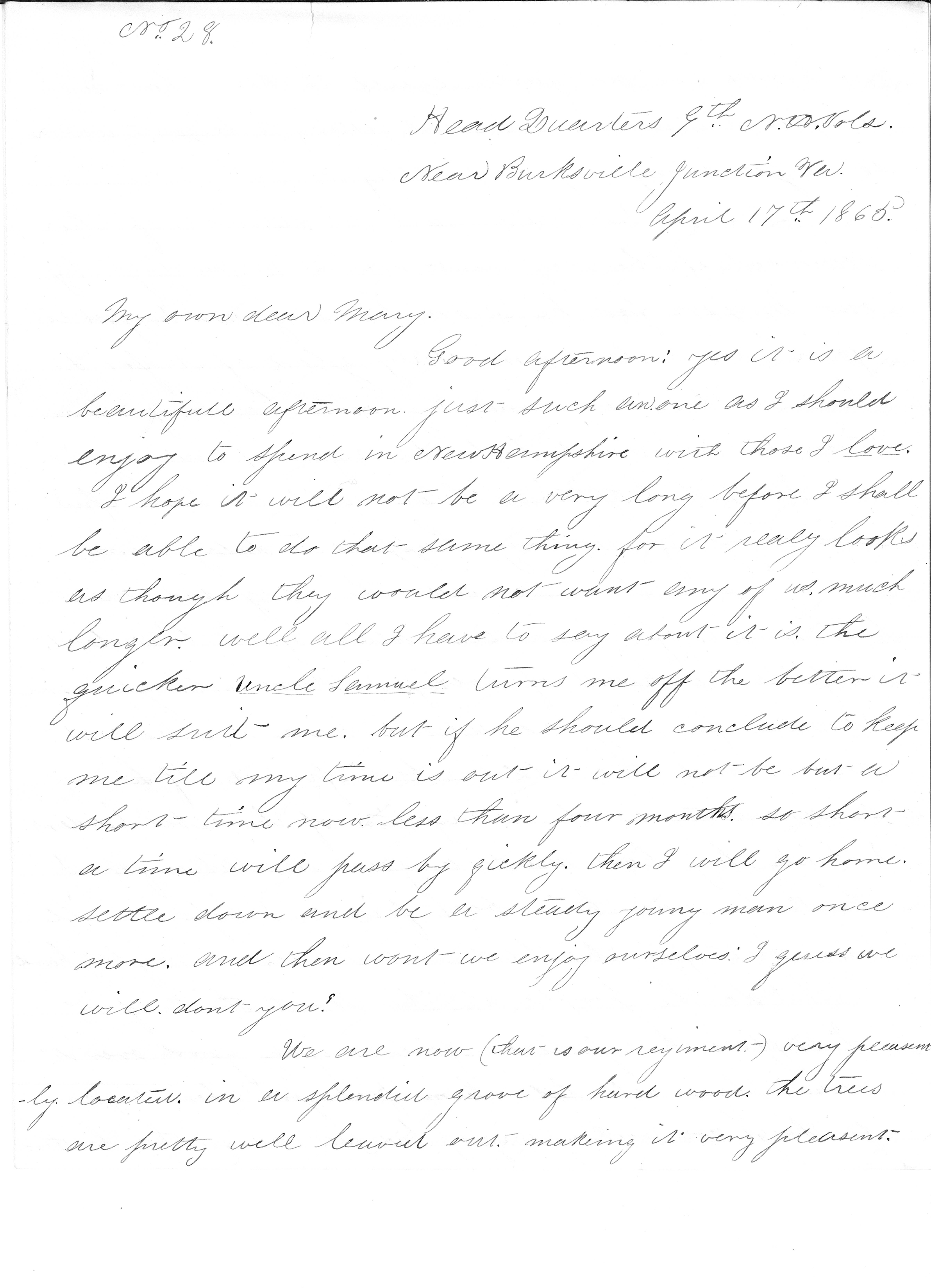Letter – To Mary from John, Burkesville Junction April 17 pt 1