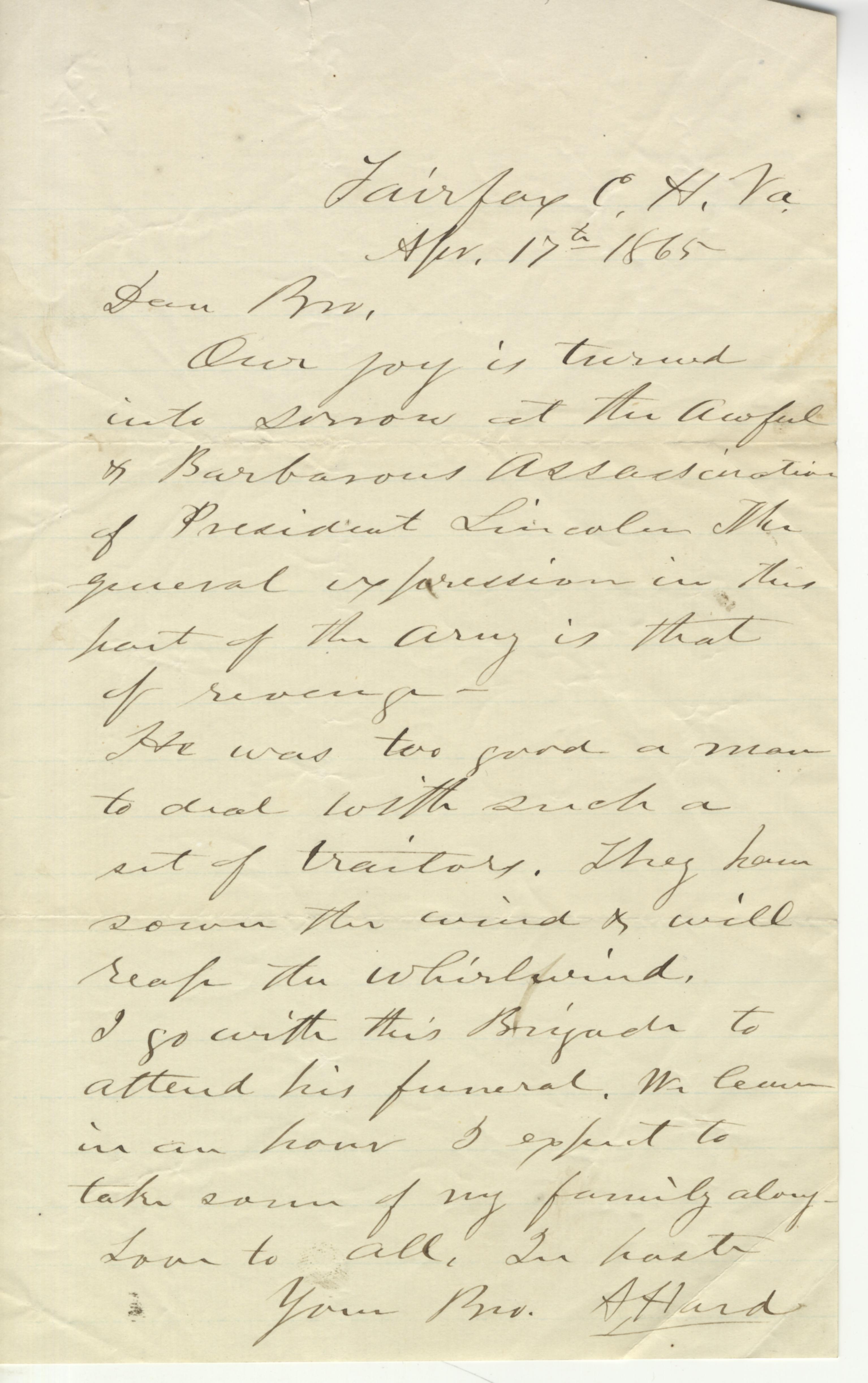 8th Illinois Cavalry Letter in Reaction to Lincoln's Death -