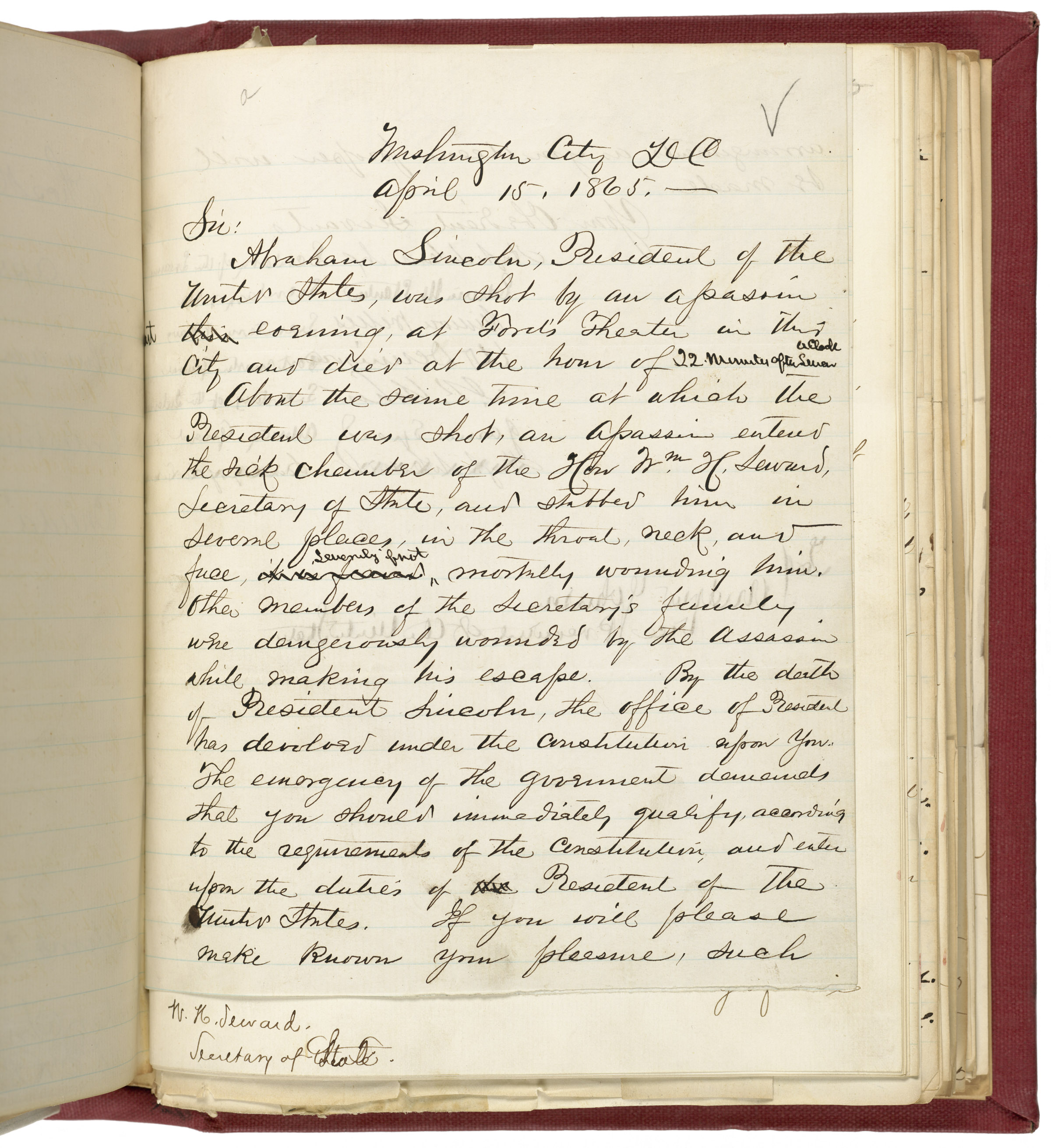Letter from Lincoln's Cabinet to Andrew Johnson