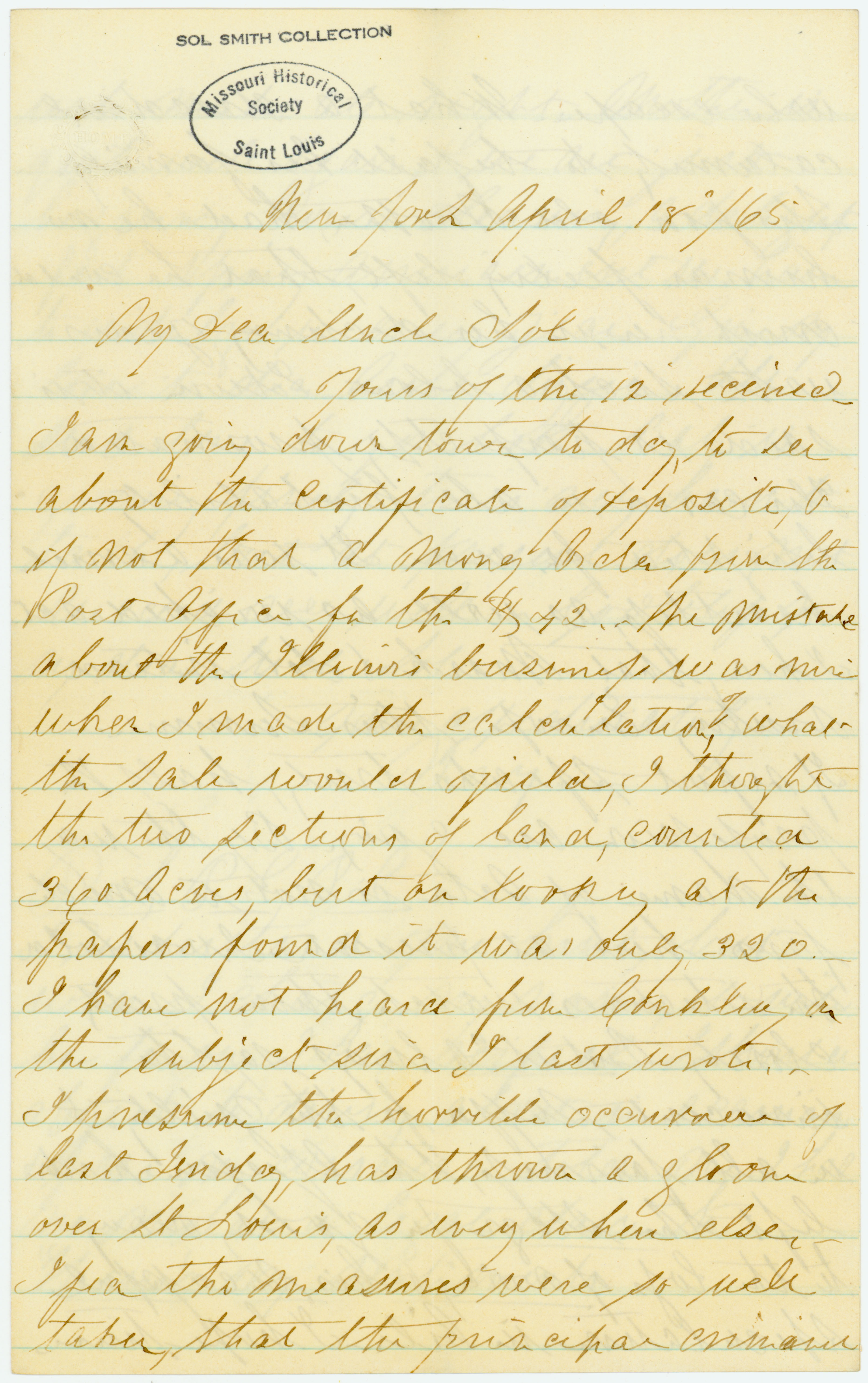 Letter of Mary [Mary Farren], New York, to Uncle Sol [Solomon F. Smith], April 18, 1865