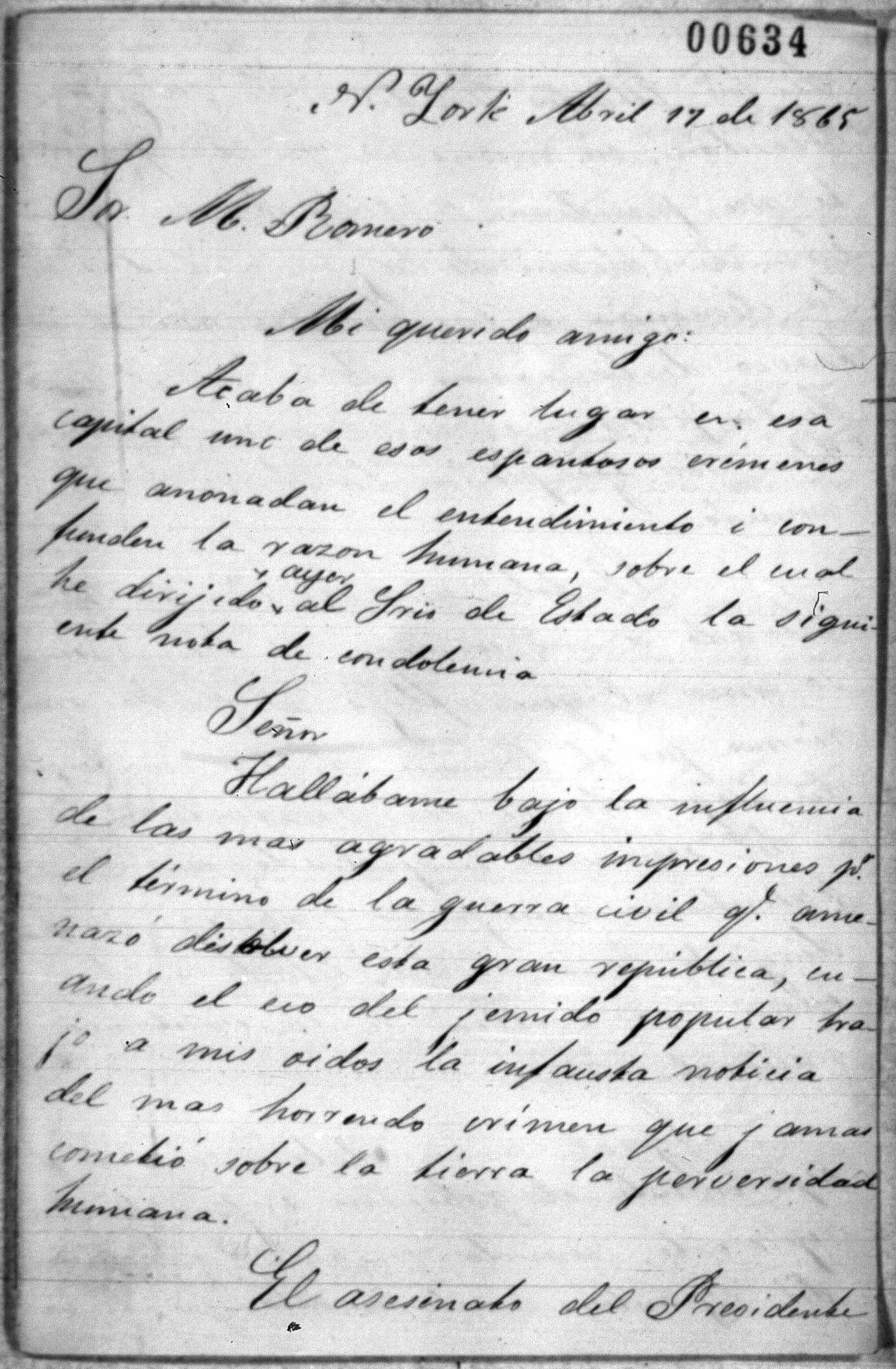 Letter to Mexican diplomat Matias Romero from Blas Bruznal