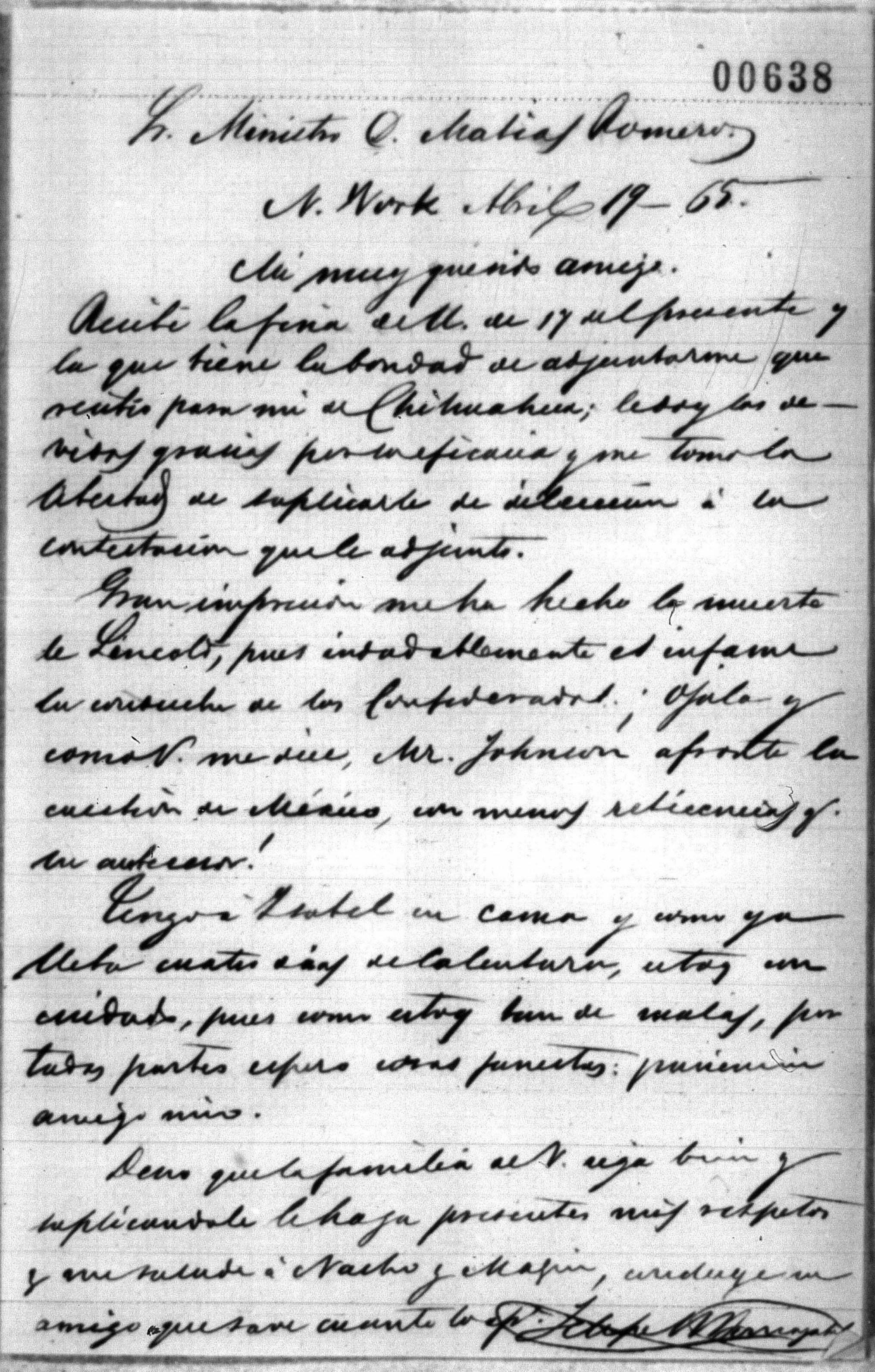 Letter to Mexican diplomat Matias Romero from Felipe Berriozábal