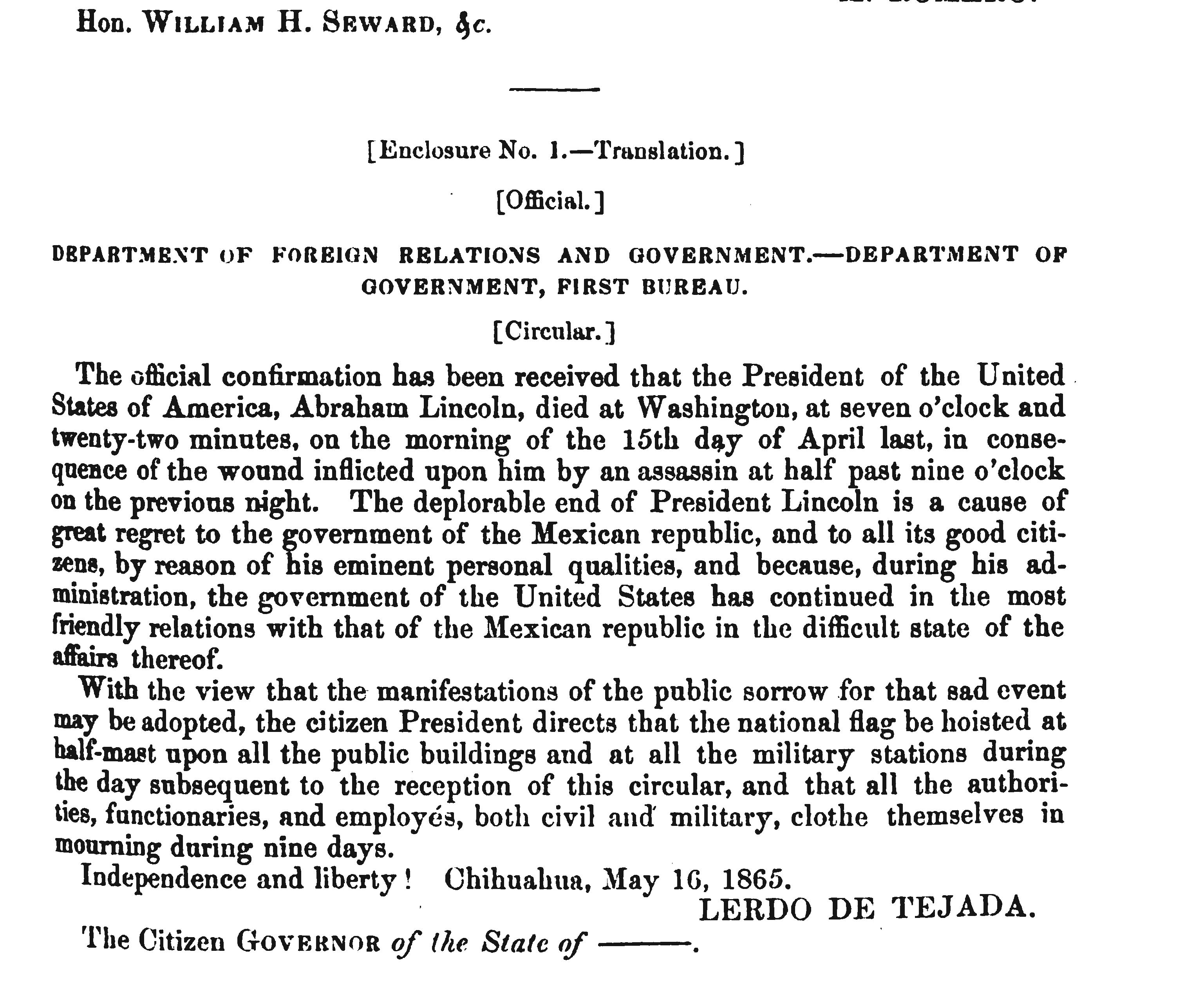 Department of Foreign Relations and Government - Mexican Response to Lincoln Assassination