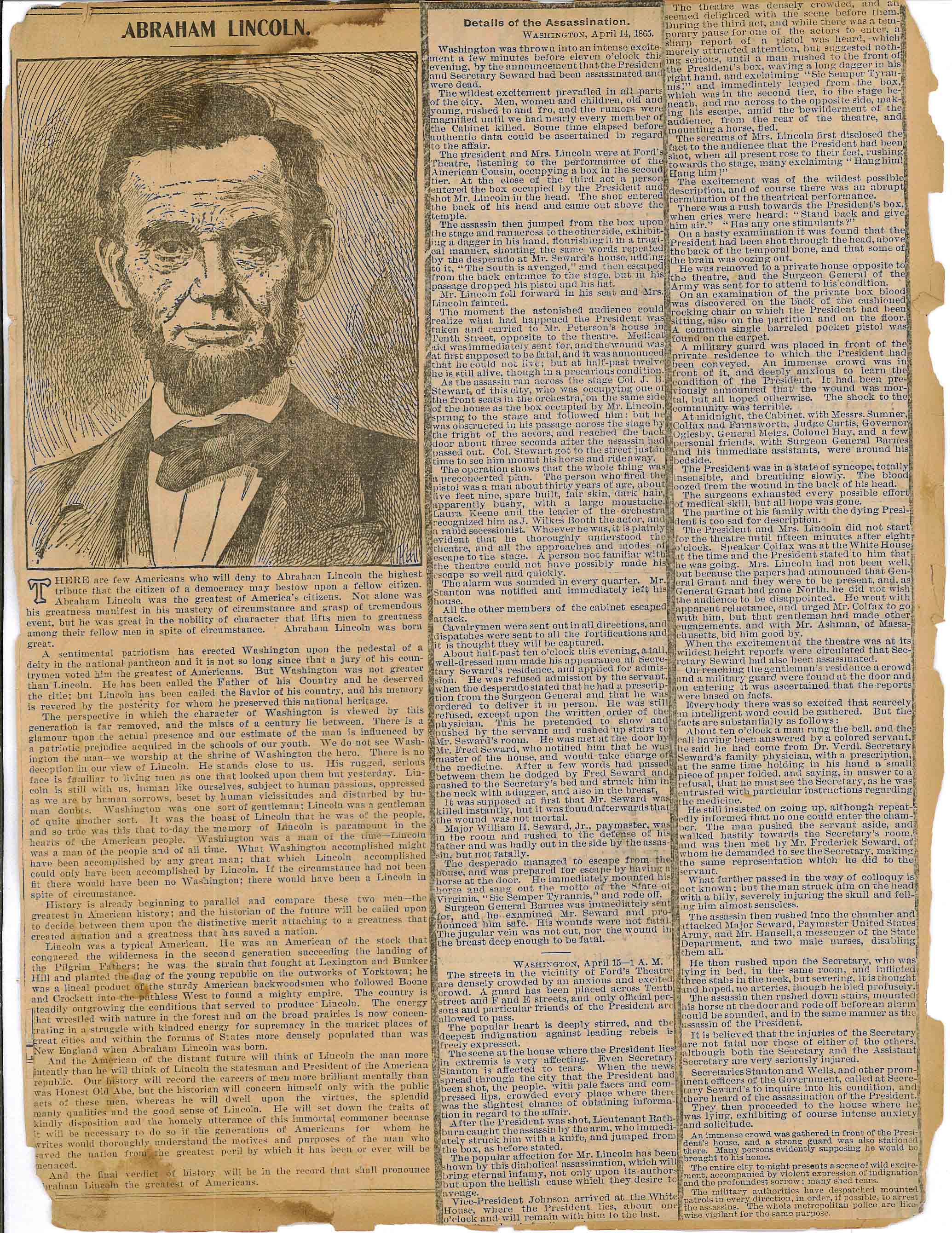 Newspaper Clipping – Details of Assassination pt. 1