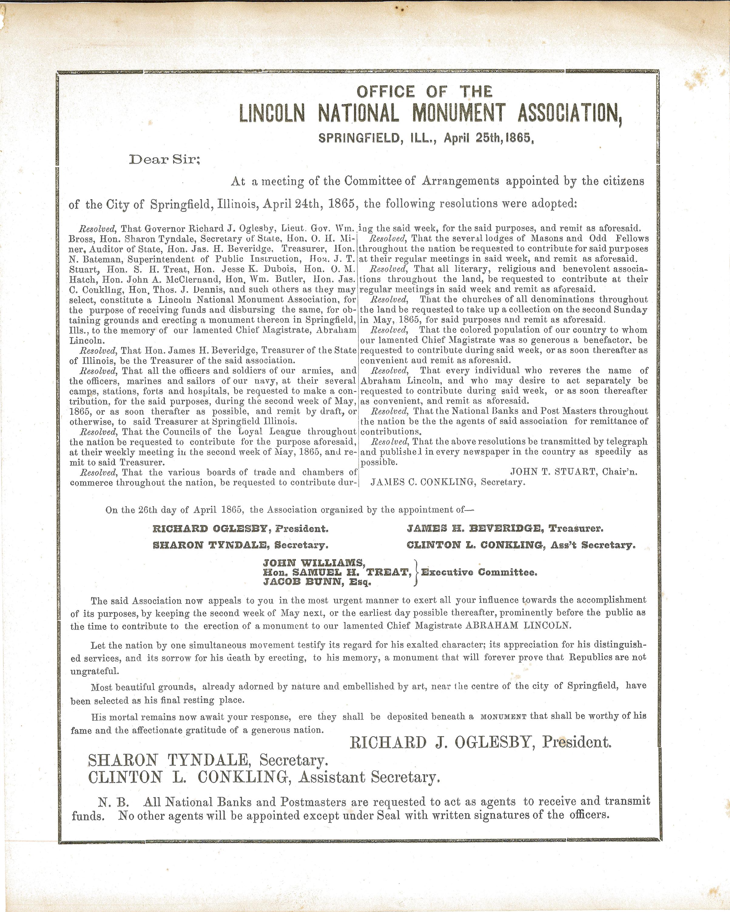 Notice – Resolutions Regarding Lincoln Tomb