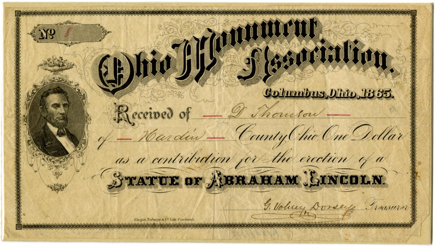 Ohio Monument Association Receipt