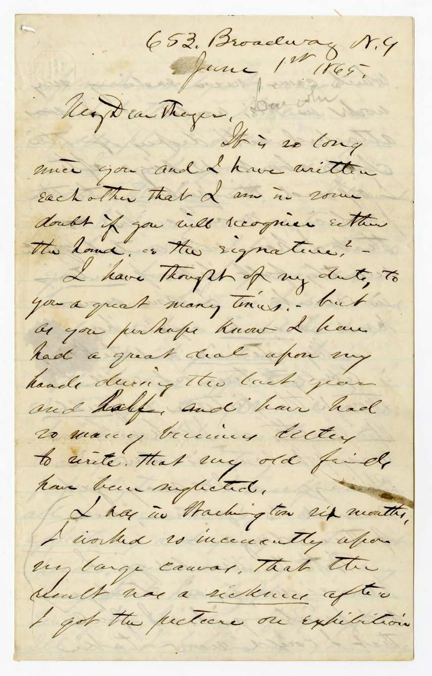 Letter from Francis Bicknell Carpenter to Sanford Thayer