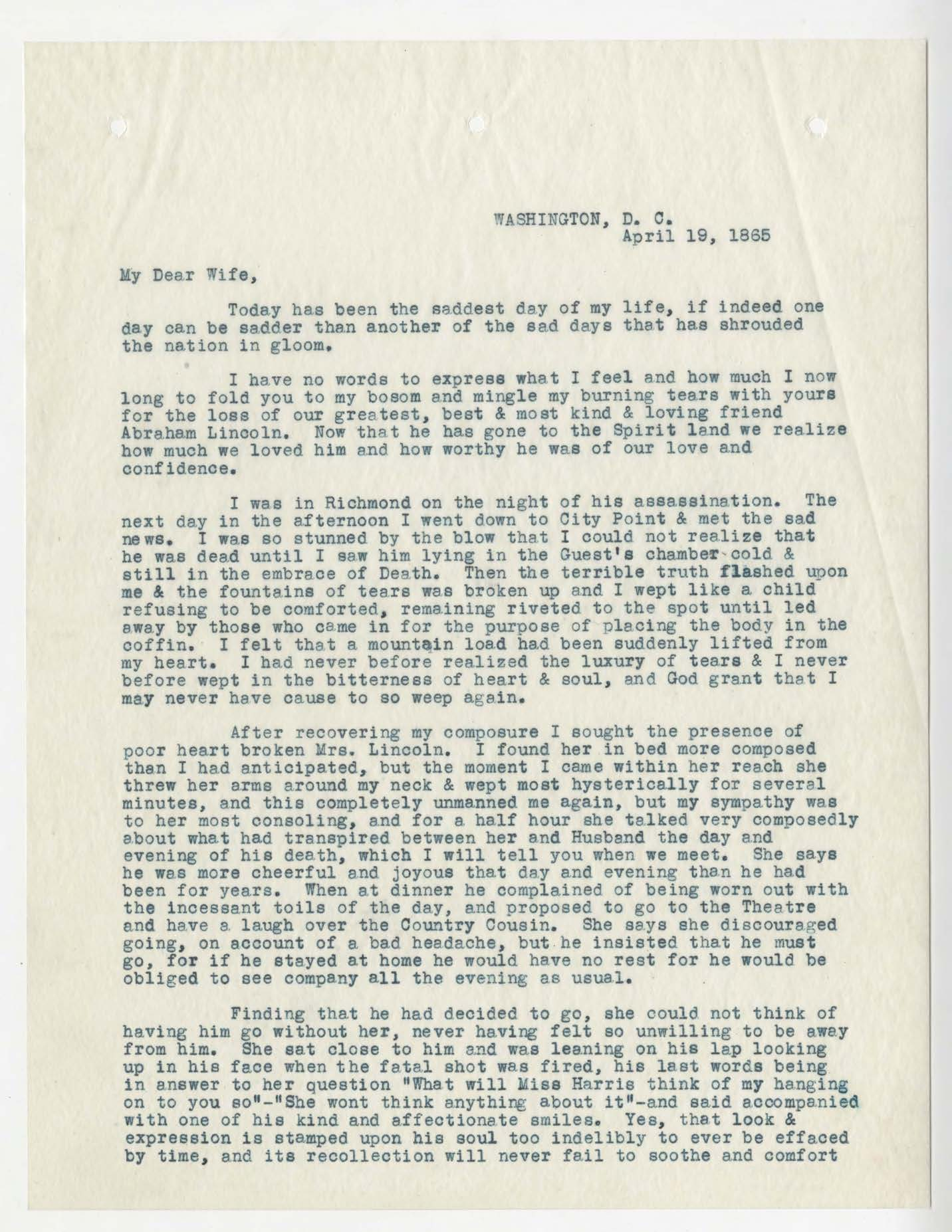 A Letter from Dr. Anson G. Henry to his wife