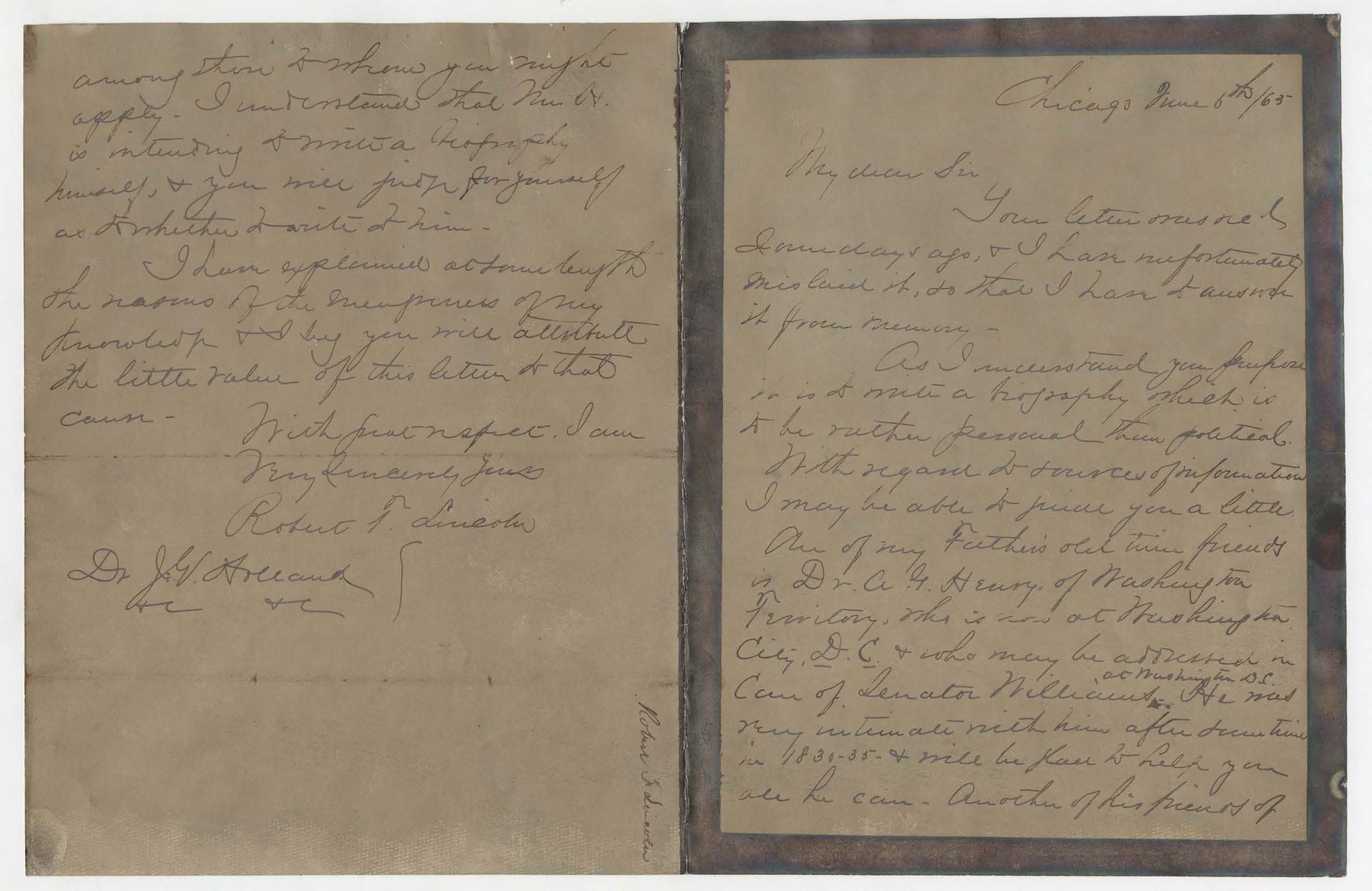 A letter from Robert Todd Lincoln to Dr. Josiah G. Holland