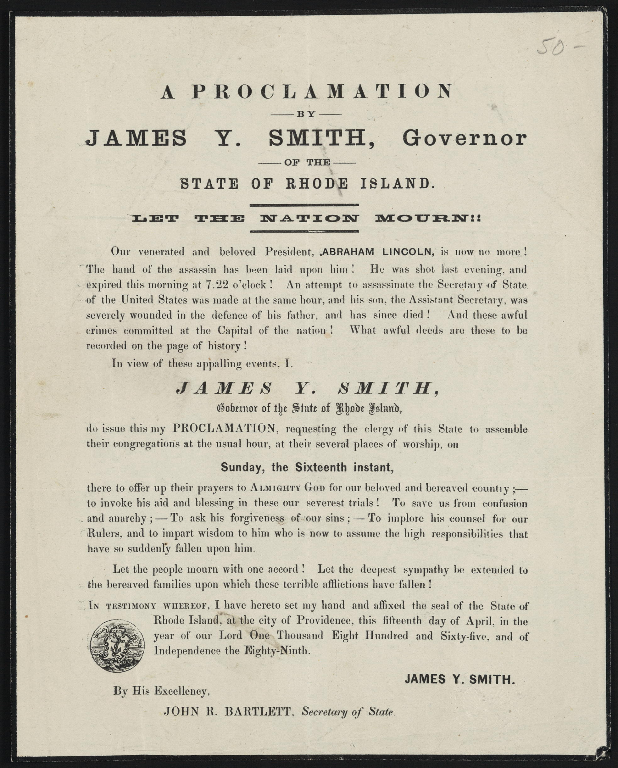 A Proclamation by James Youngs Smith, Governor of the State of Rhode Island