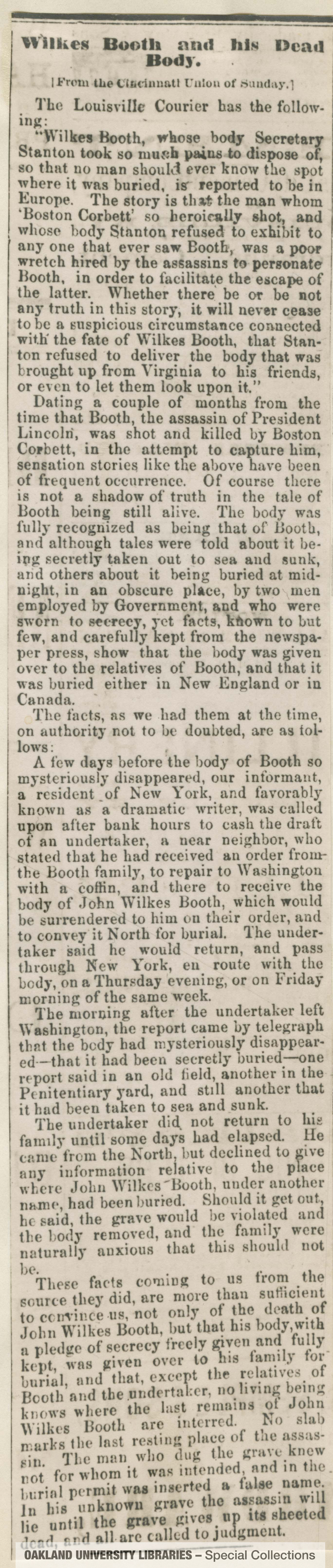 Wilkes Booth and his Dead Body [From the Cincinnati Union of Sunday]