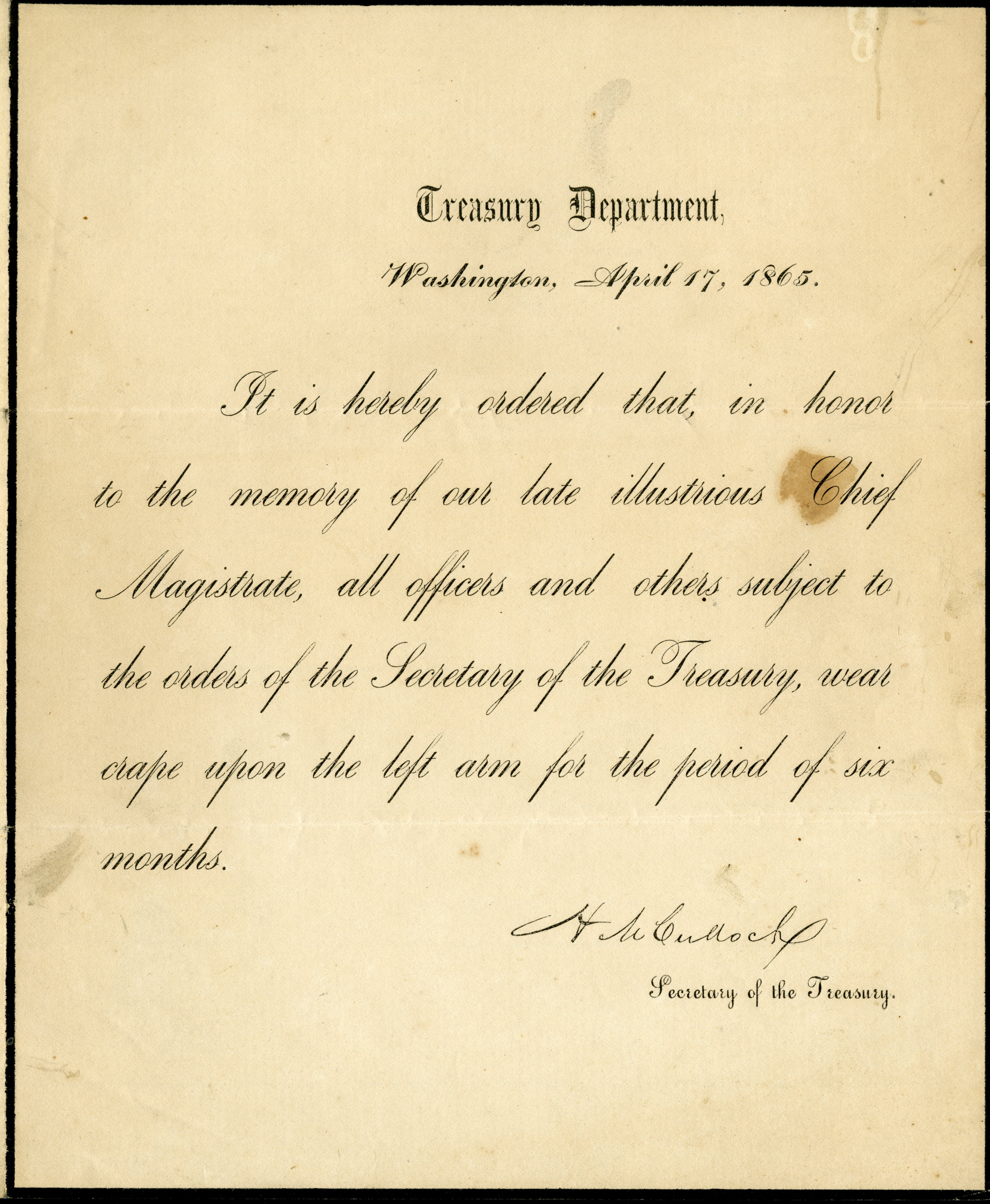 Printed Treasury Department order to wear a crepe mourning band in honor of Lincoln