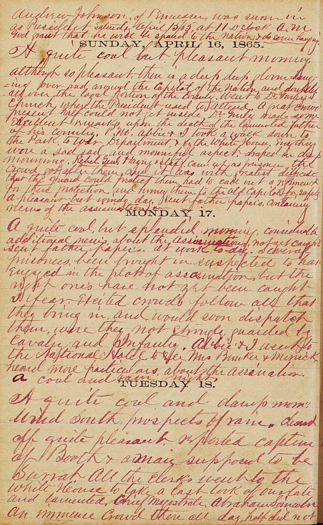 Otis Keene Diary, April 16-18, 1865