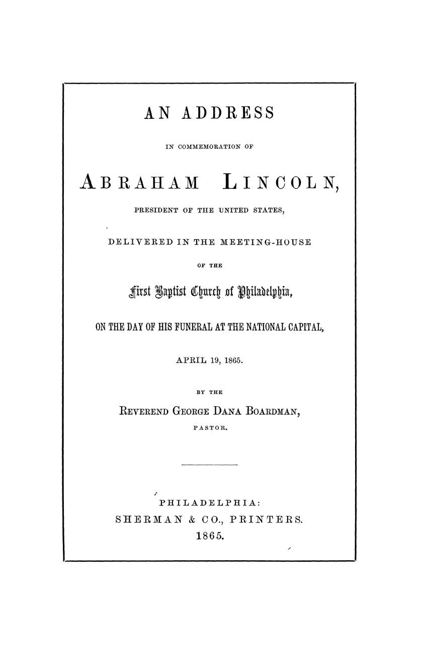 An Address in Commemoration of Abraham Lincoln