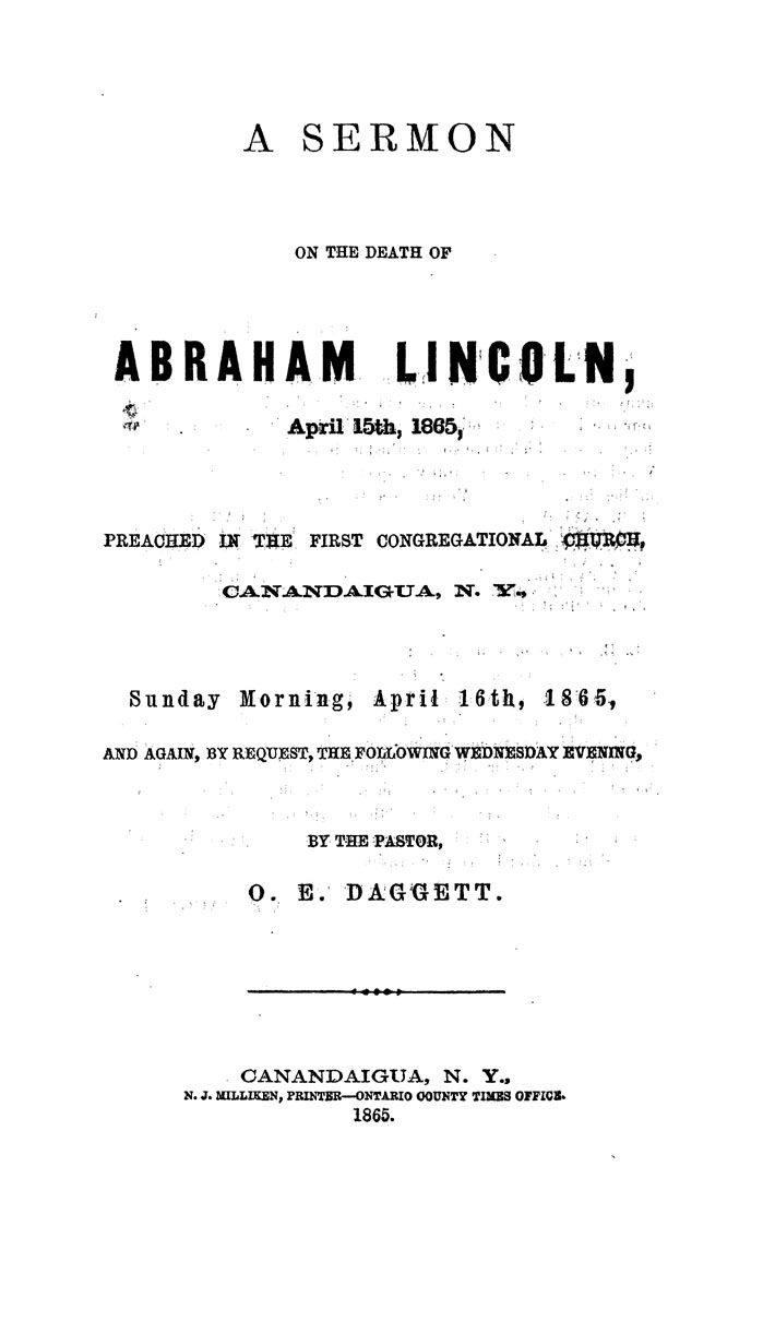 A Sermon on the Death of Abraham Lincoln, April 15th, 1865