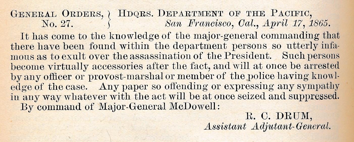 General Order No. 27 April 17, 1865