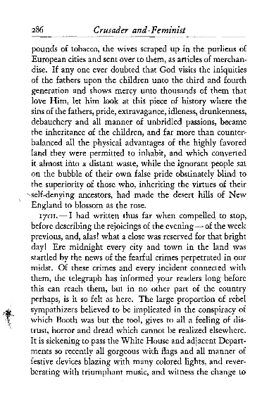 Excerpts from Crusader and feminist; letters of Jane Grey Swisshelm, 1858-1865;