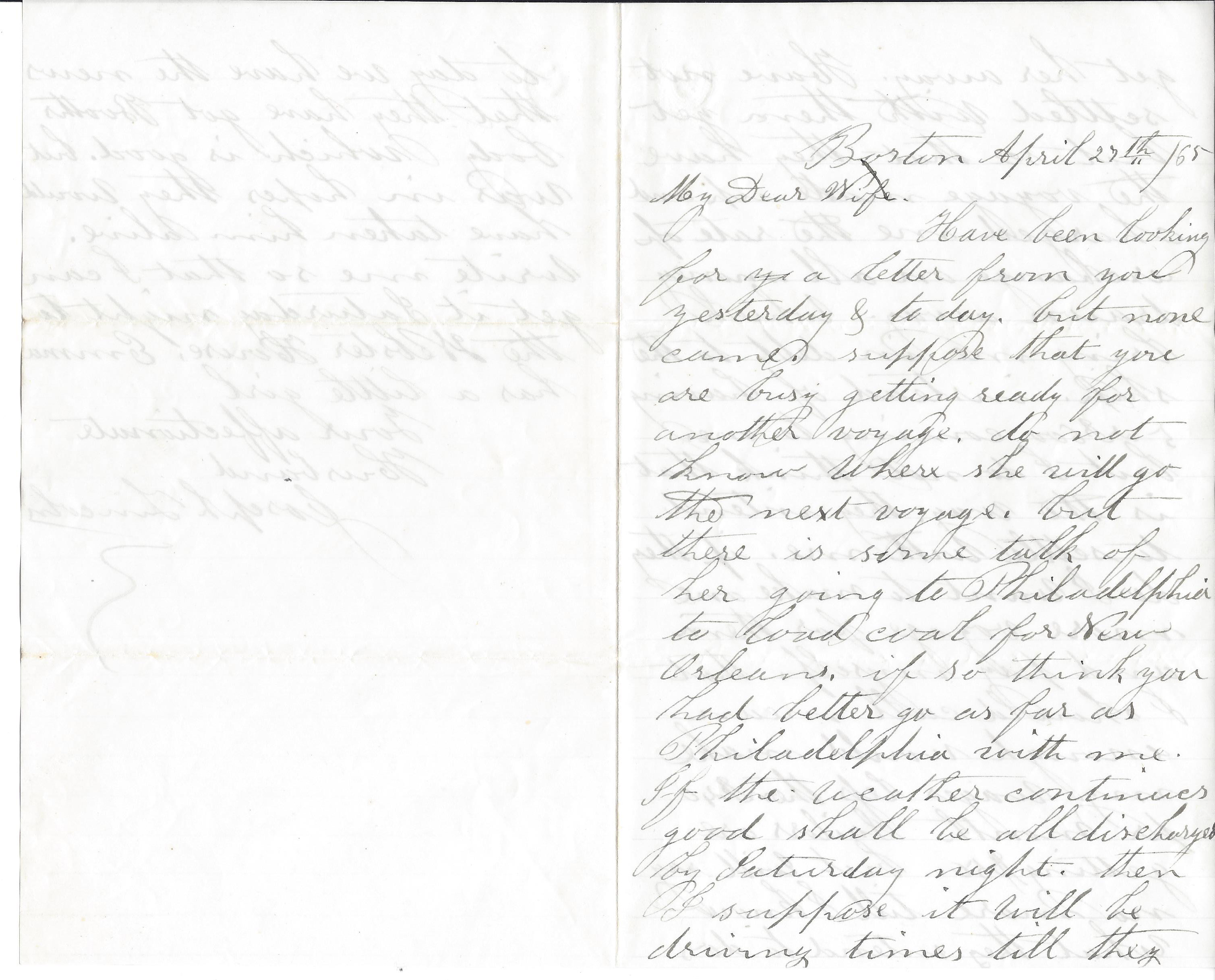 Joseph Lincoln Letter to Wife