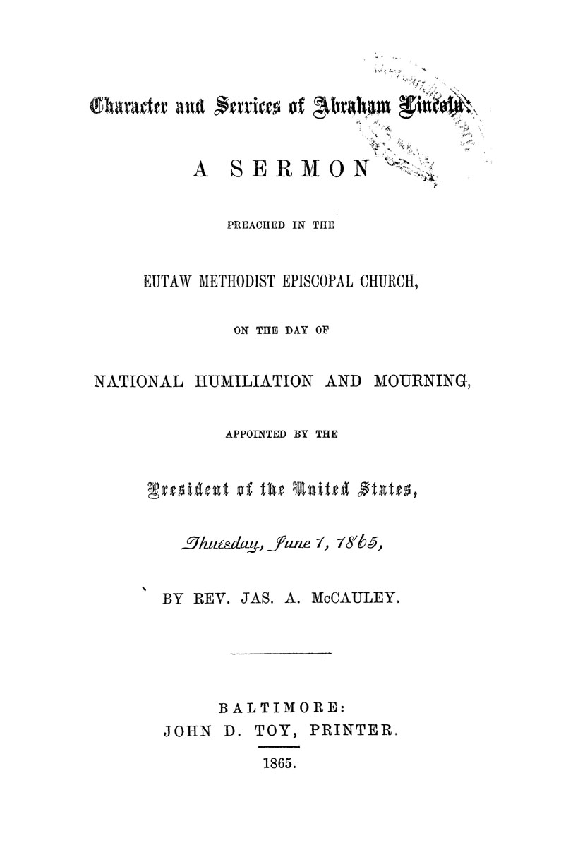 Character and Services of Abraham Lincoln