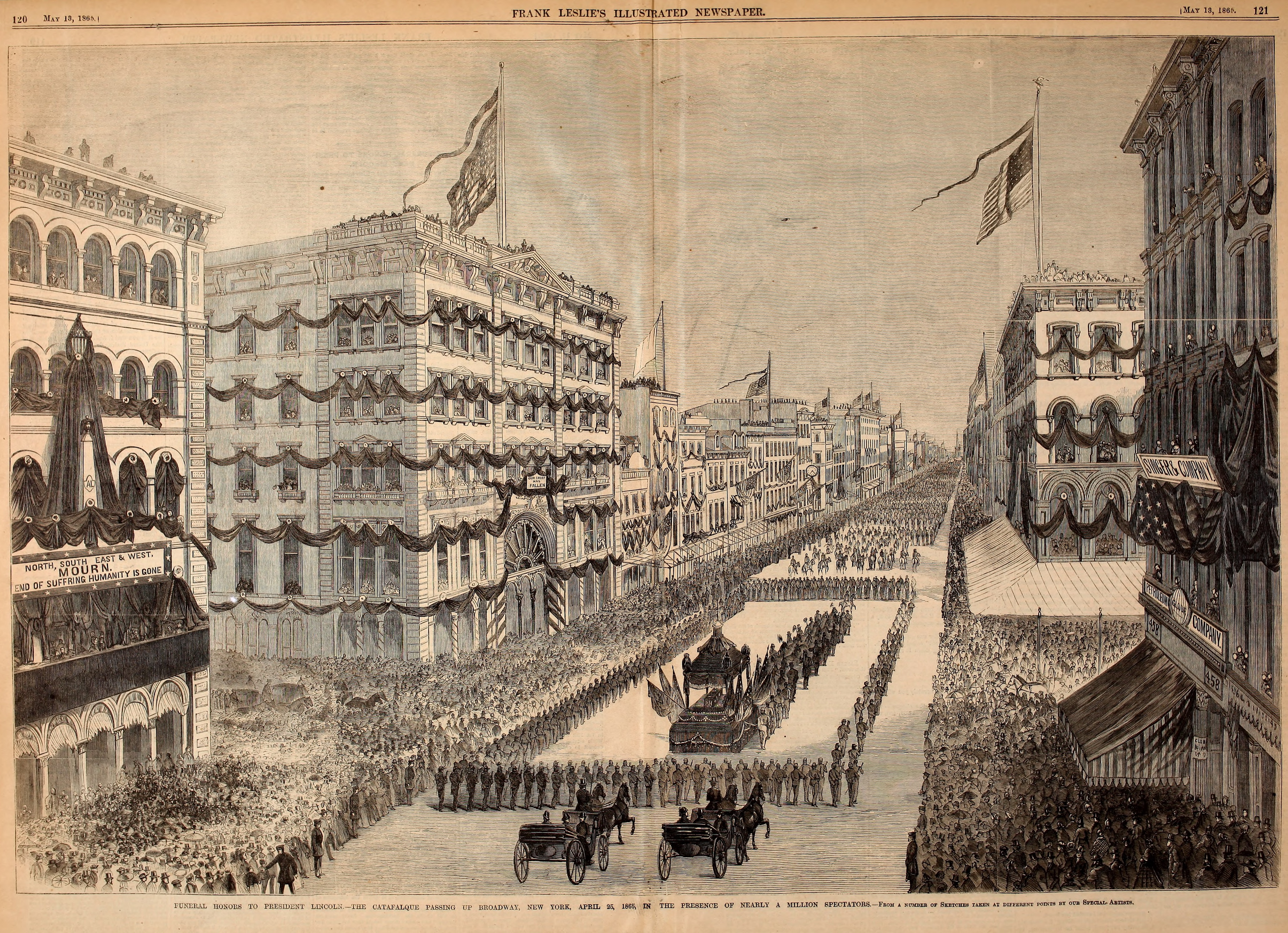 President Lincoln's Funeral Procession in New York City - Frank Leslie's Illustrated Newspaper Drawing