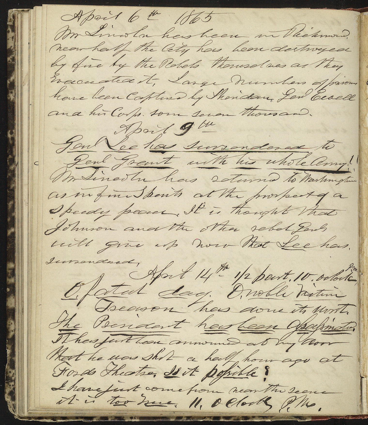 Horatio Nelson Taft Diary, April 6-14, 1865