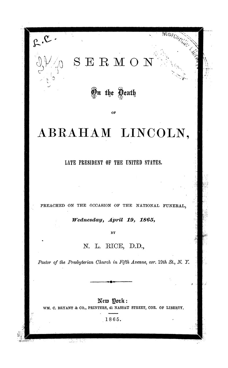 Sermon on the Death of Abraham Lincoln.