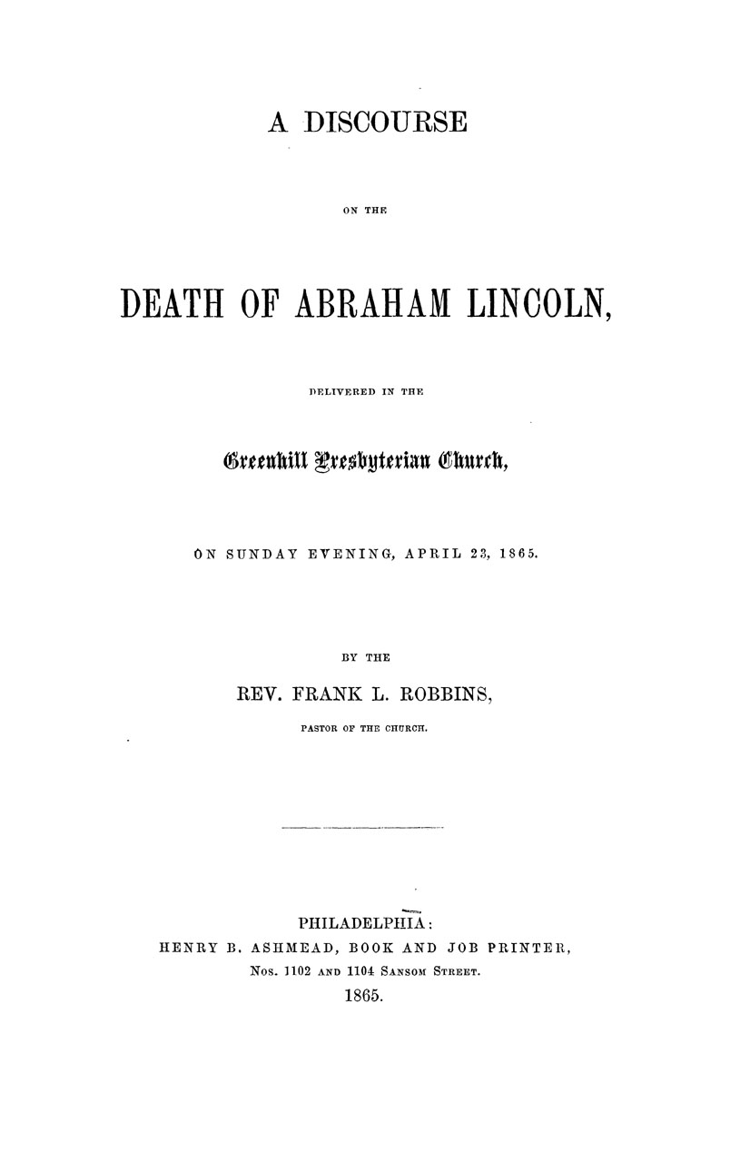 A Discourse on the Death of Abraham Lincoln