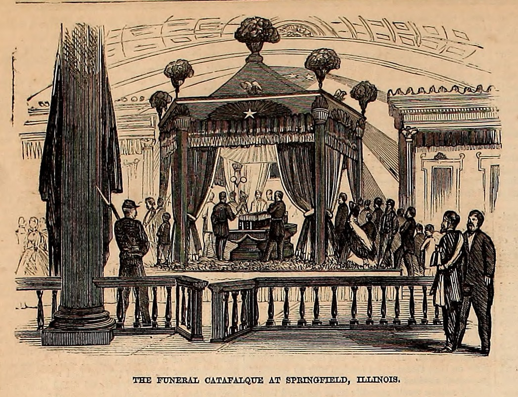 The Funeral Catafalque at Springfield, Illinois - Frank Leslie's Illustrated Newspaper Drawing