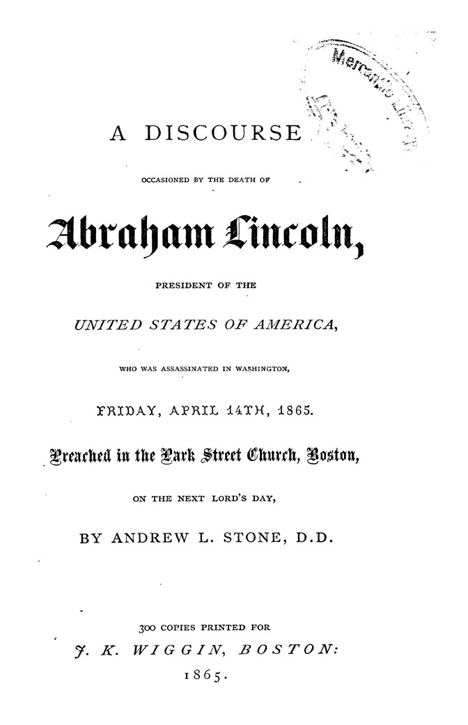 A Discourse Occasioned by the Death of Abraham Lincoln