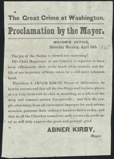Proclamation by the Mayor of Milwaukee