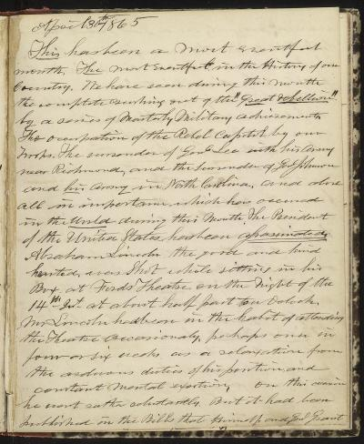 Horatio Nelson Taft Diary, April 30, 1865