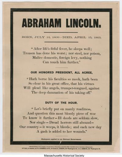 Abraham Lincoln Born, July 12 [sic], 1809--Died, April 15, 1865