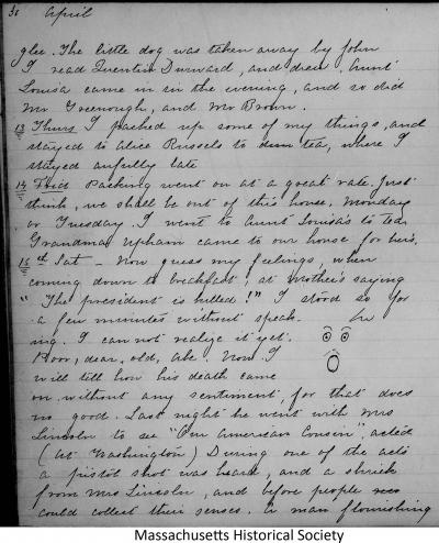 Sarah Gooll Putnam diary 7 excerpt, entries for 13-17 April 1865