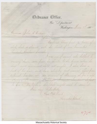 Letter from Augustus Clark to John A. Andrew, 5 May 1865