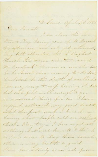 Letter signed Althea [Althea Johnson] and Clay, St. Louis, to Parents, April 23, 1865
