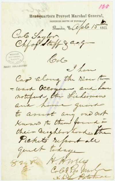 Contemporary copy of telegram of H. H. Wells, Headquarters Provost Marshal General, Defences South of Potomac, Alexandria, Va., to Cole Taylor, Chf. of Staff and A.A.G., April 15, 1865
