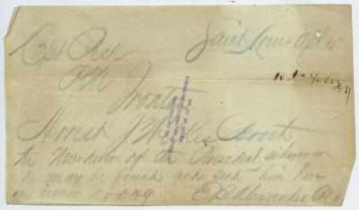 Contemporary copy of telegram of E. B. Alexander, Saint Louis, to Capt. Peck, Ironton, April 15, 1865