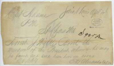 Contemporary copy of telegram of E. B. Alexander, Saint Louis, to Capt. Adams, St. Charles, Mo., April 15, 1865